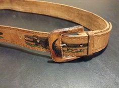 Vintage Tooled Leather Aligator design Belt Unisex