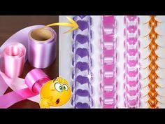 YouTube Paper Ribbon, Ribbon Art, Diy Ribbon, Ribbon Crafts, Fun Crafts, Diy And Crafts, Paper Crafts, Handkerchief Crafts, Birthday Party Decorations Diy