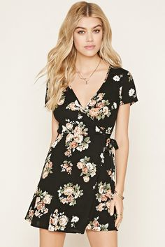 Style Deals - A short-sleeved woven wrap dress complete with a self-tie waist, a V-neckline, and an allover floral print.
