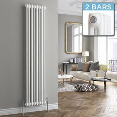 Roma Vertical Double Column Traditional Gas Radiator in White 1800mm x 380mm