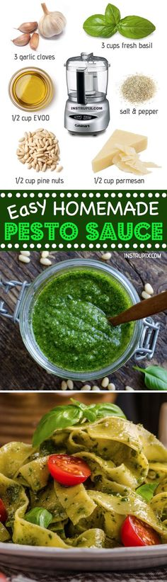 Easy Homemade Basil Pesto Sauce Recipe   For dinner, pasta, chicken, dips, spreads and more! Healthy and made with just a few simple ingredients. Make it vegan by leaving out the parmesan. Instrupix.com