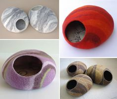More Beautiful Felted Cat Caves and Beds from Lithuania