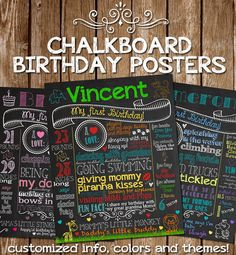 Customized Chalkboard Poster Sign for Birthday Party - Printable File -  Baby's Birthday Boy or Girl - Custom Theme Chalk Board DIY