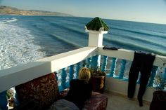 Every level of the Taghazout surf camp has a chilled out terrace overlooking the Atlantic ocean, at sunset, it can be pretty awesome!  www.SurfBerbere.com