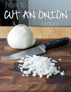 Here is the simplest way of how to cut an onion into a nice small dice. How To Cut Onions, Onion Soup Recipes, Hummus Recipe, Baking Tips, Food Hacks, Food Tips, Family Meals, Food Videos, Easy Meals