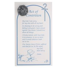 A special keepsake as they approach the Sacrament of Reconciliation, this thoughtful little pin is featured on a prayer card featuring the Act of Contrition prayer.