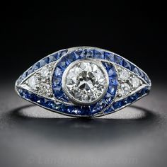 1.01 Carat Diamond and Sapphire Art Deco Ring From Lang Antiques $10,750