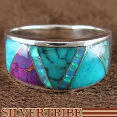 Whiterock Sterling Silver Multicolor Inlaid Ring - Turquoise and Opal
