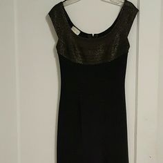 Great For Your New Years Party! Only Worn Once Long Black Sleeveless Dress w/ A Front Slit... In Excellent Condition Length: 60 inches from shoulder to bottom Slit: 29 inches from bottom to thigh Cache Dresses