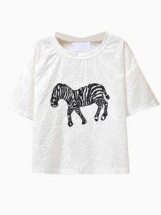 Shop White Sequined Zebra T-shirt with Embossed Flower from choies.com .Free shipping Worldwide.