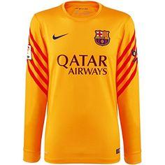 2015-2016 Barcelona Home Nike Goalkeeper Shirt (Gold) - Kids Nike