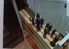 great knife storage by oven.  Fine home building