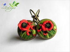 Poppies field- polymer clay bronze earrings
