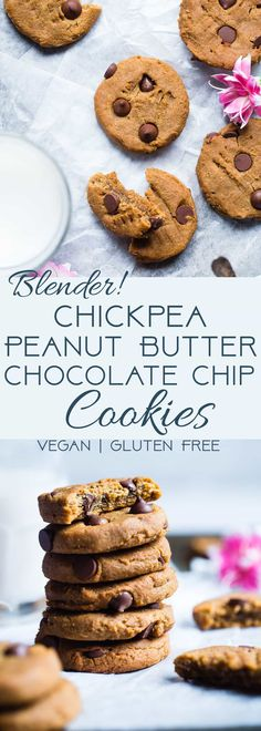 Peanut Butter Chickpea Chocolate Chip Cookies - These kid-friendly, vegan cookies are SO soft and chewy! You would never believe they are healthy and gluten/grain/dairy/egg AND refined sugar free! | Foodfaithfitness.com | @FoodFaithFit |