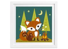 240 Fox and Squirrel Camping Wall Art Print - Blue Night Skies Green Trees Yellow Moon Stars Baby Fox Squirrel Roasting Marshmallows Decor