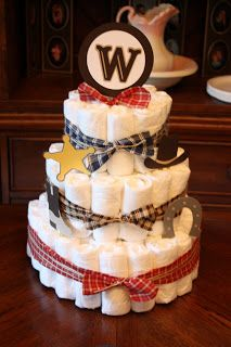5M Creations: Western Baby Shower  Diaper Cake so cute!