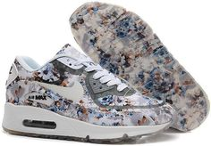 Nike Air Max 90 Floral Print Womens Gray Wild Rose Training Shoes