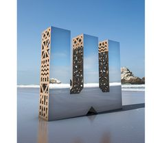 A series of monolithic letterforms that, on a closer look, provide a glimpse into the intricate frameworks. While their mirrored faces reflect a seamless integration to our world, their wooden structures reveal the complex and intricate systems behind the ideas we often breeze right past. Each letter was hand-fabricated and placed into an environment with a direct relation to the SF Design Community'.