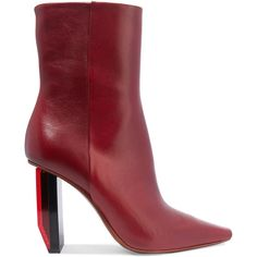 Vetements Textured-leather ankle boots ($1,710) ❤ liked on Polyvore featuring shoes, boots, ankle booties, vetements, burgundy, high heel booties, pointed toe bootie, bootie boots, zip ankle boots and zipper boots