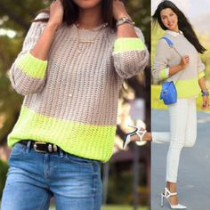 MADEWELL Colorblock Bookmark Sweater Neon Green Oatmeal Rib Knit Pullover J.Crew #Madewell #Crewneck #Work