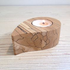 Tealight holder, candle holder (Teardrop Lacquered), Scottish spalted beech wood, wooden, hygge, unique, handmade, tealight, natural