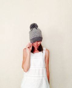 Chunky Grey With White Dots Fair Isle Knit Hat / Pom Pom Knit Grey Hat / Woman Knit Beanie / Winter Accessories / Handmade / Ready To Ship $35.00