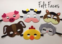 One set of 6 Farm Animal party masks, one of each style shown in the photo. Each mask is made with premium felt, and has a black elastic band sewn to each side of the back. These adorable party masks