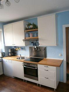 Küchenzeile weiss + Kühlschrank Edelstahloptik   eBay
