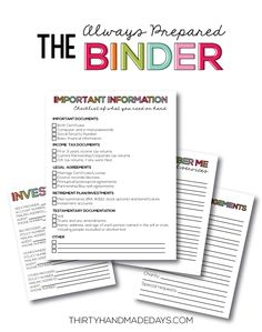 the Always Prepared Binder- printable sheets to be prepared for everything. Can be added to Family Binder with the Budget Binder too. www....