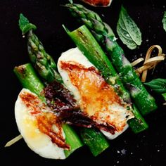 Grilled Halloumi and Asparagus. Can drizzle with any dressing I guess