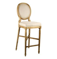 French Country Medallion Back Bar Light Linen Bar Stool   Kathy Kuo   $800