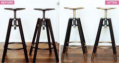 DALFRED Ikea Bar Stools Makeover - Beautiful gold-tipped bar stools.:
