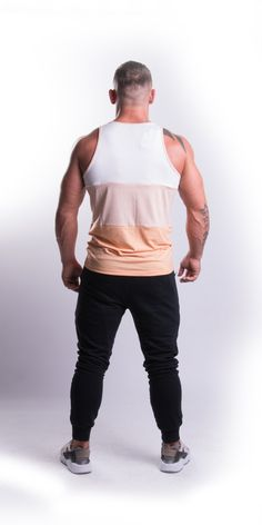 Peach Tricolour Tank Top - EconomicShopping Printing Labels, Color Combinations, Tank Man, Peach, Sporty, Tank Tops, Model, How To Wear, Shopping
