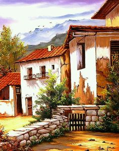Landscape Art, Landscape Paintings, Landscape Photography, Art Péruvien, Painting Corner, Peruvian Art, Art Watercolor, Easy Canvas Painting, Cottage Art