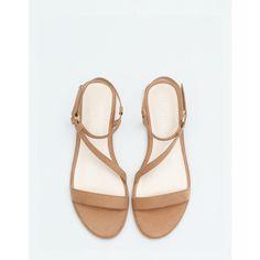 BSK Flat Strappy Sandals - Flat Sandals - Bershka Turkey via Polyvore featuring shoes, sandals, strappy sandals, strap shoes, bershka, strappy flat sandals ve flat sandals