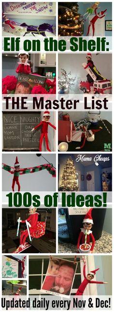 Elf on the Shelf Master List Updated Daily. Loads of Elf on the Shelf ideas for Christmas! Noel Christmas, Winter Christmas, Christmas Crafts, Christmas Ideas, Xmas Elf, Funny Christmas, Christmas Things, Primitive Christmas, Christmas Music