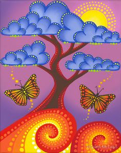 Jacaranda in full bloom by Elspeth McLean Más Tree Of Life Art, Tree Art, Elspeth Mclean, Dot Art Painting, Arte Pop, Aboriginal Art, Whimsical Art, Mandala Art, Painted Rocks