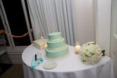 Our Spearmint Wedding Cake. #spearmint #weddingcake #tiffanyblueweddingcake #floatingcandles #beachwedding