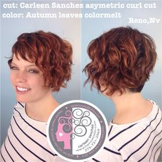 Asymetric Naturally Curly sexy Short cut and colormelt by Carleen Sanchez Reno,Nv www.haircutcolor.com