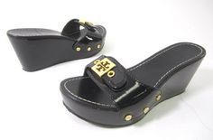 TORY BURCH Black Patent Leather Gold Tone Hardware High Wedges Sandals Sz 5 M at www.ShopLindasStuff.com