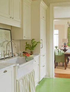 Things We Love:  Skirted Sinks - Melissa Ervin Design Kitchen Flooring, Kitchen Cabinets, Custom Homes, Custom Home Builders, Kitchen Design, Sink Design, Floor Design, Chef Kitchen, Kitchen Ideas