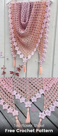 A free crochet pattern of the tea flower shawl. Do you also want to crochet the tea flower shawl? Read more about the Free Crochet Pattern Tea Flower Shawl. Poncho Crochet, Pull Crochet, Crochet Patron, Crochet Shawls And Wraps, Crochet Motifs, Crochet Scarves, Diy Crochet, Crochet Skull, Shawl Patterns