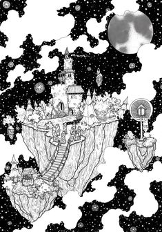 SKY FORTRESS signed pen and ink illustration PRINT various sizes available black and white castle n space trees and nature well fantasy by WyldTrees on Etsy Illustration Pen And Ink, Castle Illustration, Black And White Illustration, Fantasy Illustration, Ink Illustrations, Ant Drawing, White Art, Black And White Doodle, Art Sketchbook