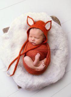 Fox Felted Baby Bonnet Photo prop Newborn от AniaMagdaFilc на Etsy