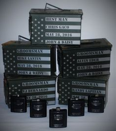 1 Ammo Box and 1 Flask Giftset 4 Men Personalized Laser Engraved Ammo Box Custom Ammo Can Box Groomsman Best Man Gift Ideas Personalized by MemoriesMadeCustom on Etsy Gifts For Wedding Party, Wedding Favors, Our Wedding, Wedding Stuff, Dream Wedding, Wedding People, Wedding Souvenir, Wedding Shit, Wedding Parties