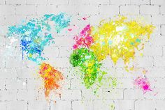World Map Painting On Brick Wall