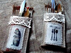 Jute Silverware Holders tutorial--these could be made with burlap instead. Burlap Silverware Holder, Cutlery Holder, Burlap Crafts, Burlap Projects, Deco Table, Decoration Table, Diy Wedding, Wedding Ideas, Wedding Favours