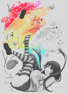 ✮ ANIME ART ✮ anime. . .painter. . .artist. . .painting. . .art supplies. . .black and white. . .rainbow. . .cute. . .kawaii