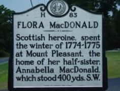 Flora MacDonald Historical Marker. North Cool Spring Street, Fayetteville, NC. Near this marker, Flora MacDonald bade farewell to her husband, Allan MacDonald during the march out of the Highlanders to the Battle of Moores Creek Bridge 1776, during the American Revolution.