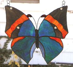 Stained Glass Butterfly  Indian Leaf    by StainedGlassArtist, $95.00